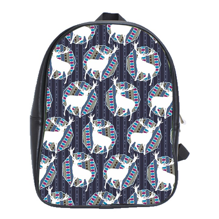 Geometric Deer Retro Pattern School Bags(Large)