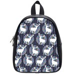 Geometric Deer Retro Pattern School Bags (Small)  Front