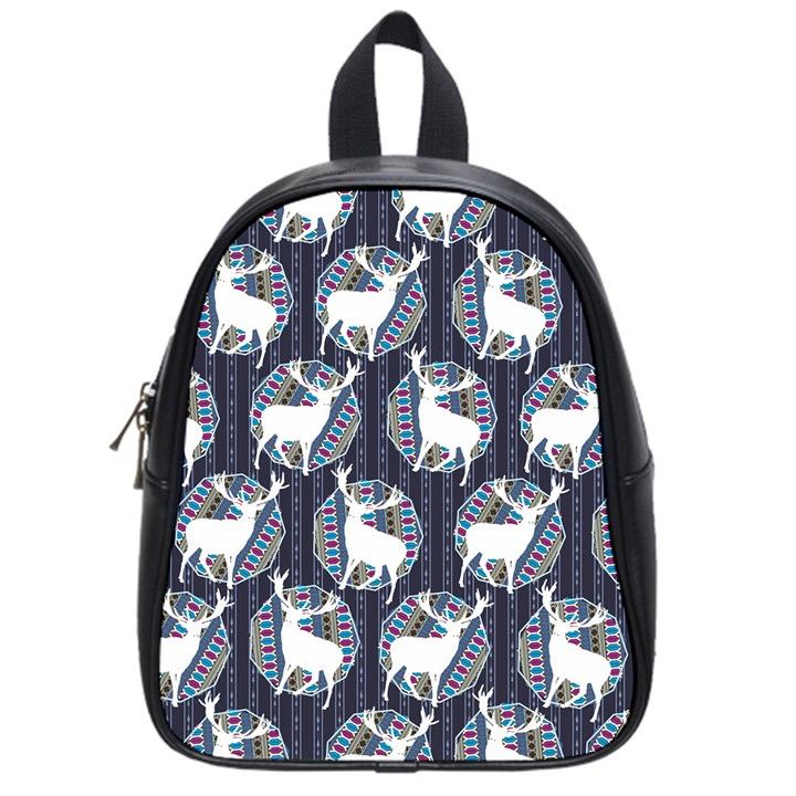 Geometric Deer Retro Pattern School Bags (Small)