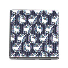 Geometric Deer Retro Pattern Memory Card Reader (square)