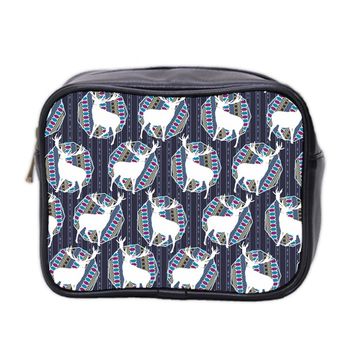 Geometric Deer Retro Pattern Mini Toiletries Bag 2-Side
