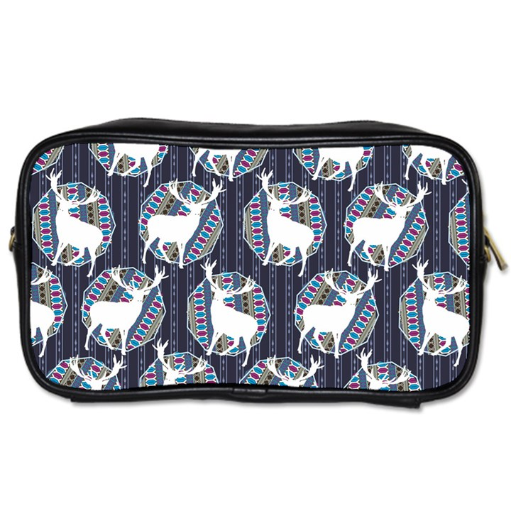 Geometric Deer Retro Pattern Toiletries Bags 2-Side