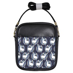 Geometric Deer Retro Pattern Girls Sling Bags