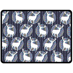 Geometric Deer Retro Pattern Fleece Blanket (Large)