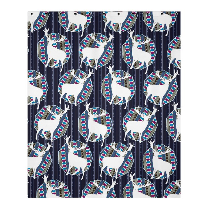Geometric Deer Retro Pattern Shower Curtain 60  x 72  (Medium)