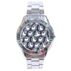 Geometric Deer Retro Pattern Stainless Steel Analogue Watch