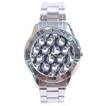 Geometric Deer Retro Pattern Stainless Steel Analogue Watch Front