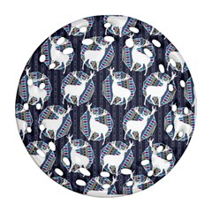 Geometric Deer Retro Pattern Ornament (Round Filigree)