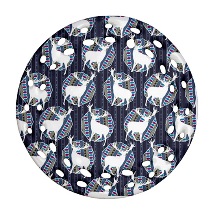Geometric Deer Retro Pattern Round Filigree Ornament (2Side)