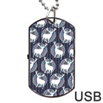 Geometric Deer Retro Pattern Dog Tag USB Flash (One Side) Front