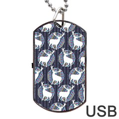 Geometric Deer Retro Pattern Dog Tag USB Flash (Two Sides)