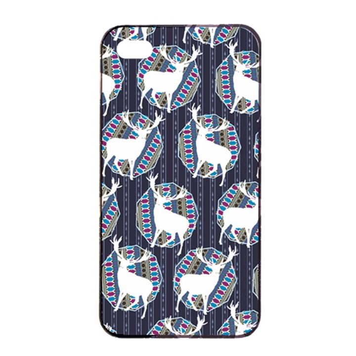 Geometric Deer Retro Pattern Apple iPhone 4/4s Seamless Case (Black)