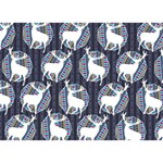 Geometric Deer Retro Pattern BOY 3D Greeting Card (7x5) Front