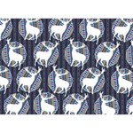 Geometric Deer Retro Pattern Heart 3D Greeting Card (7x5) Back