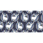 Geometric Deer Retro Pattern Twin Hearts 3D Greeting Card (8x4) Front