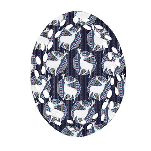 Geometric Deer Retro Pattern Ornament (Oval Filigree)