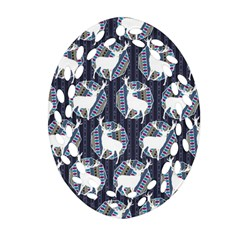 Geometric Deer Retro Pattern Oval Filigree Ornament (2 Side)