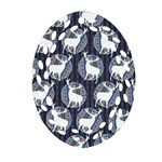 Geometric Deer Retro Pattern Oval Filigree Ornament (2-Side)  Front