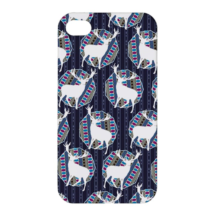 Geometric Deer Retro Pattern Apple iPhone 4/4S Premium Hardshell Case
