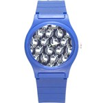 Geometric Deer Retro Pattern Round Plastic Sport Watch (S) Front