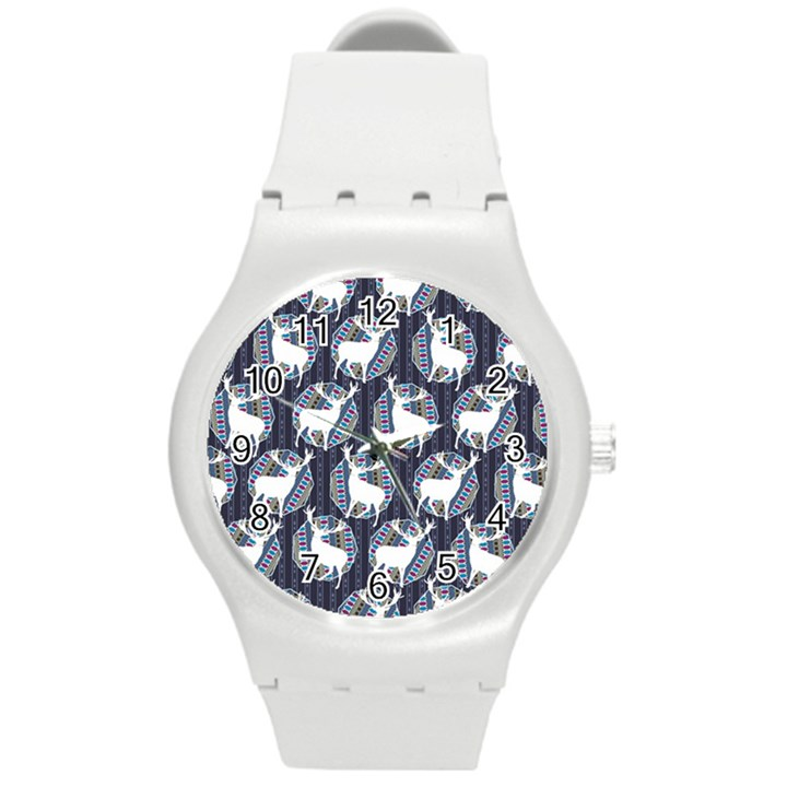 Geometric Deer Retro Pattern Round Plastic Sport Watch (M)