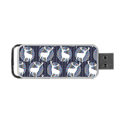 Geometric Deer Retro Pattern Portable USB Flash (Two Sides)