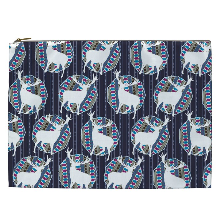 Geometric Deer Retro Pattern Cosmetic Bag (XXL)