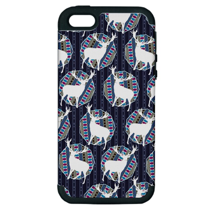Geometric Deer Retro Pattern Apple iPhone 5 Hardshell Case (PC+Silicone)