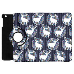 Geometric Deer Retro Pattern Apple iPad Mini Flip 360 Case