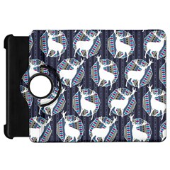 Geometric Deer Retro Pattern Kindle Fire HD Flip 360 Case
