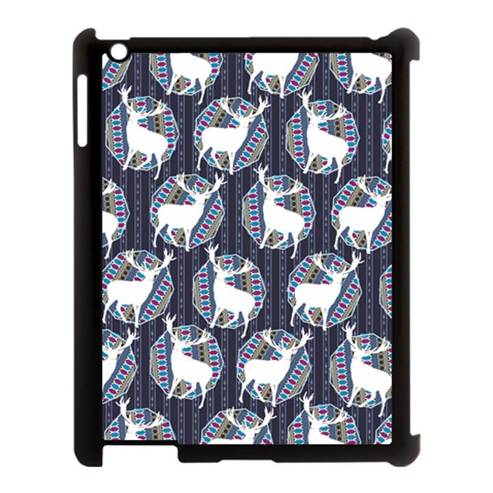 Geometric Deer Retro Pattern Apple iPad 3/4 Case (Black)
