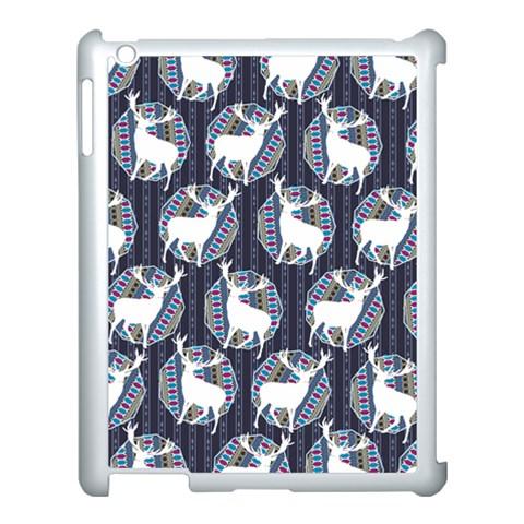 Geometric Deer Retro Pattern Apple iPad 3/4 Case (White)