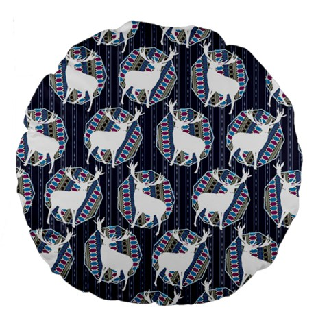 Geometric Deer Retro Pattern Large 18  Premium Round Cushions