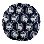 Geometric Deer Retro Pattern Large 18  Premium Round Cushions Back