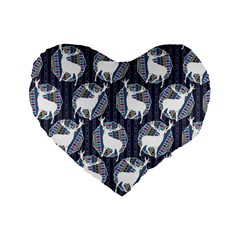 Geometric Deer Retro Pattern Standard 16  Premium Heart Shape Cushions
