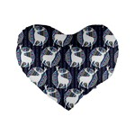 Geometric Deer Retro Pattern Standard 16  Premium Heart Shape Cushions Front