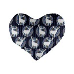 Geometric Deer Retro Pattern Standard 16  Premium Heart Shape Cushions Back