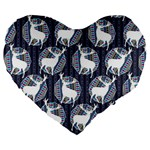 Geometric Deer Retro Pattern Large 19  Premium Heart Shape Cushions Front