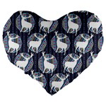 Geometric Deer Retro Pattern Large 19  Premium Heart Shape Cushions Back