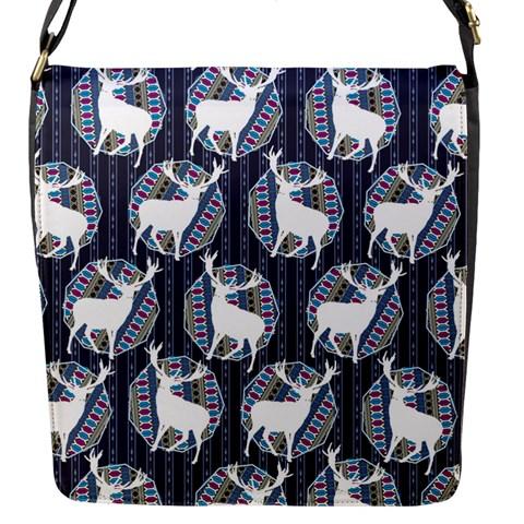 Geometric Deer Retro Pattern Flap Messenger Bag (S)