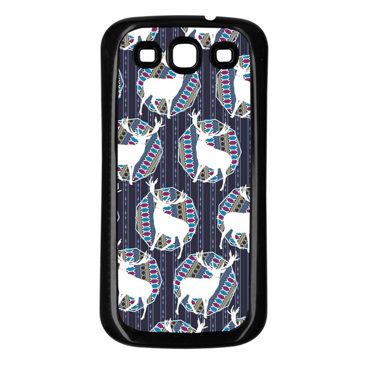 Geometric Deer Retro Pattern Samsung Galaxy S3 Back Case (Black)