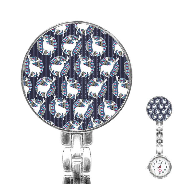 Geometric Deer Retro Pattern Stainless Steel Nurses Watch