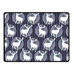 Geometric Deer Retro Pattern Double Sided Fleece Blanket (Small)