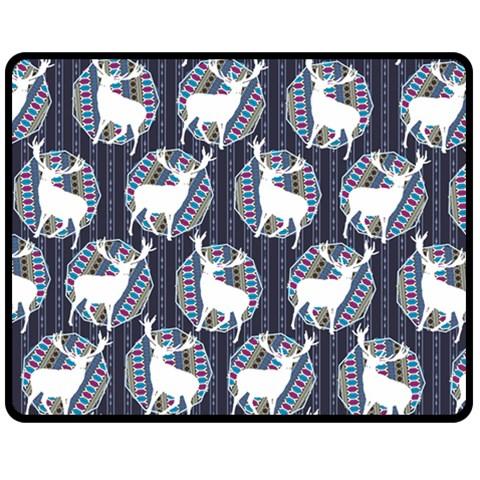 Geometric Deer Retro Pattern Double Sided Fleece Blanket (Medium)