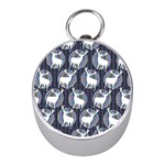 Geometric Deer Retro Pattern Mini Silver Compasses Front