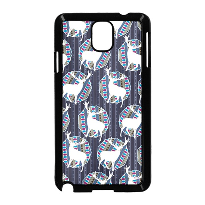 Geometric Deer Retro Pattern Samsung Galaxy Note 3 Neo Hardshell Case (Black)