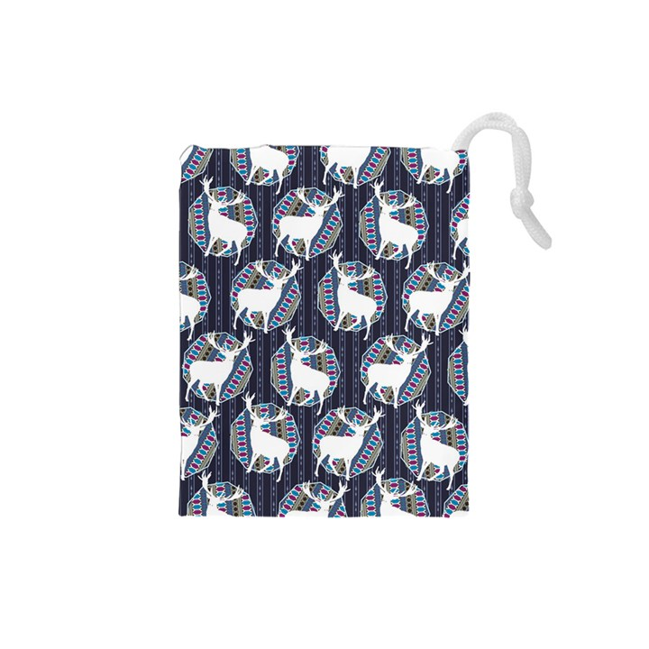Geometric Deer Retro Pattern Drawstring Pouches (Small)