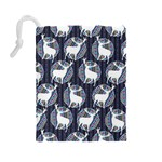 Geometric Deer Retro Pattern Drawstring Pouches (Large)  Back