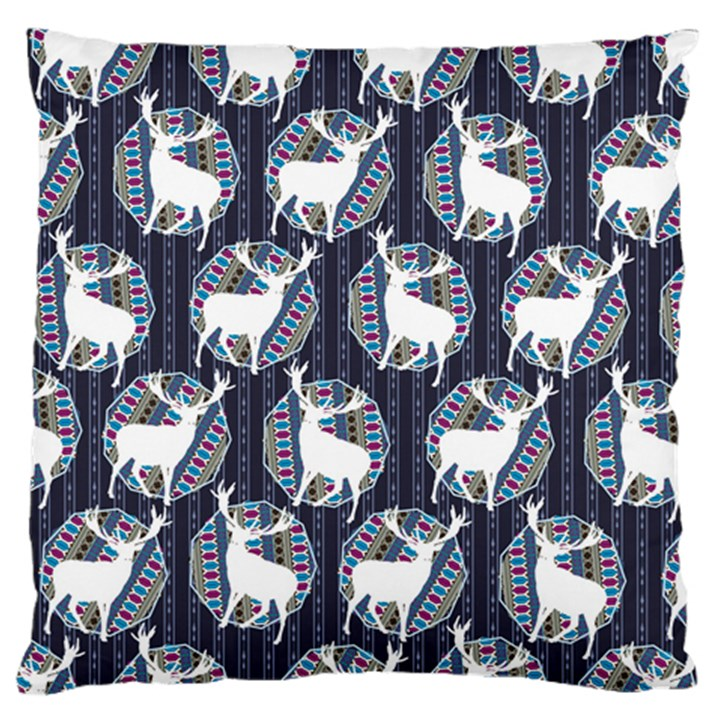 Geometric Deer Retro Pattern Standard Flano Cushion Case (One Side)