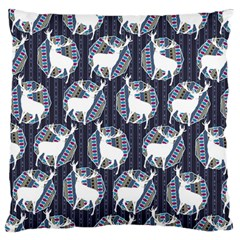 Geometric Deer Retro Pattern Large Flano Cushion Case (Two Sides)